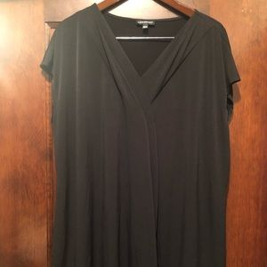 Plus size black blouse with pleated detail